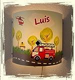Lampe Wandlampe Schlummerlampe Nachttischlampe individuell mit Namen, personalisiert, Geschenk, Feuerwehr