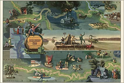 Amazon.com : 42x63 Poster; Map Of The Adventures Of Huckleberry Finn ...