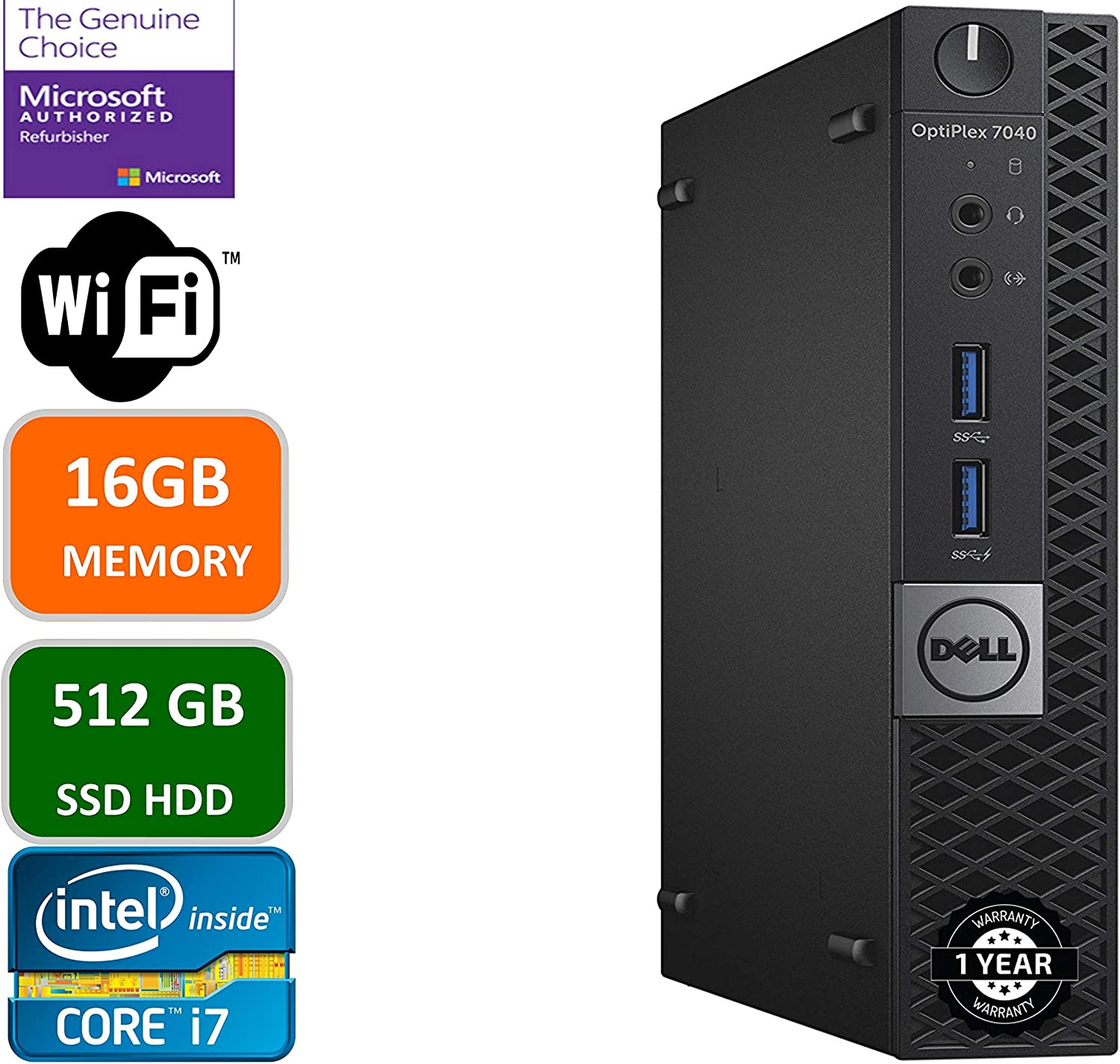 DELL OPTIPLEX 7040 6th Gen Micro Business Desktop Computer, Intel Quad Core i7 6700T up to 3.6GHz, 16G DDR4, 512G SSD, WiFi,HDMI, DP, Win 10 64-Bit Supports EN/ES/FR(CI5)(Renewed)
