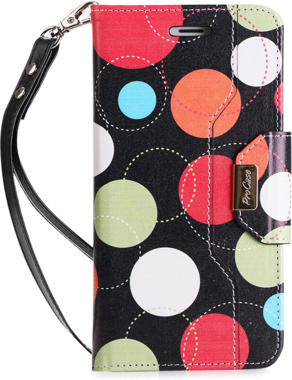 ProCase iPhone 8 Plus/7 Plus Wallet Case, Flip Fold Card Case Stylish Slim Stand Cover with Wallet Case for Apple iPhone 8 Plus/iPhone 7 Plus -Circles
