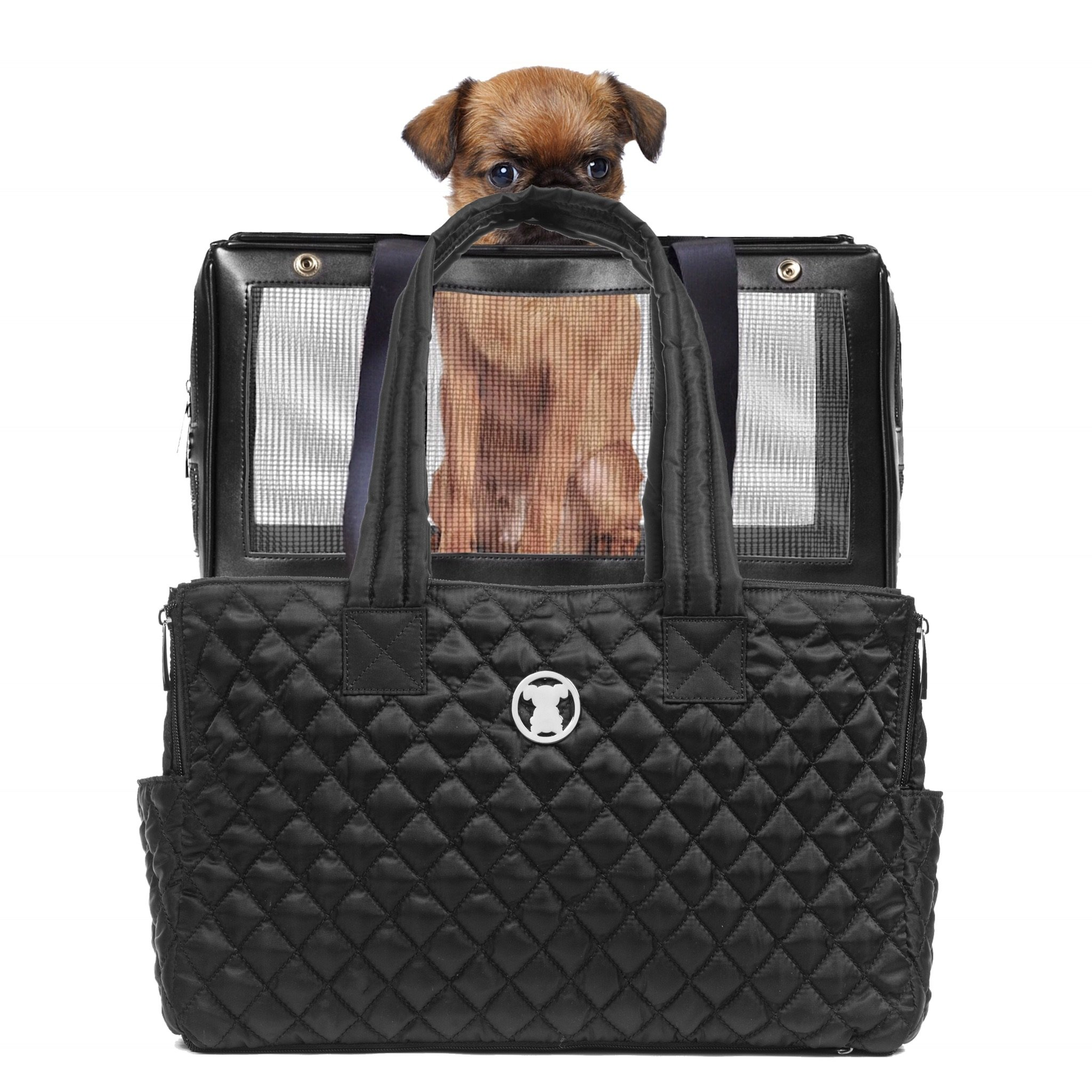 Miso Pup Black Quilted Interchangeable Airline Approved Pet Carrier Combo with Pockets for Small Dogs (Pet Carrier Base & Shell Tote) by Miso Pup