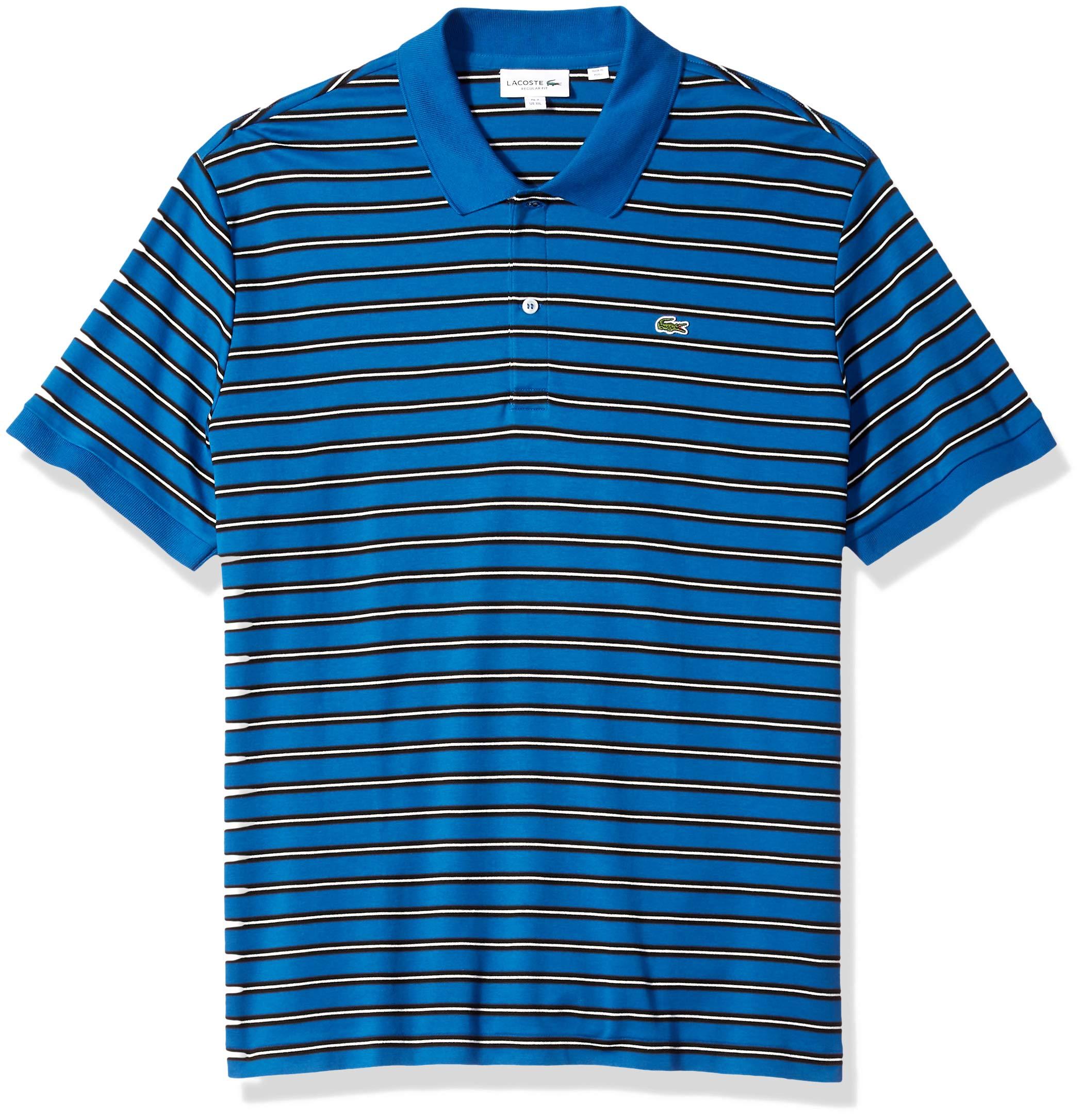 Lacoste Men's Short Sleeve Pima Reg Fit Fine Stripe Polo, Electric/Meridian Blue/Blue, Medium