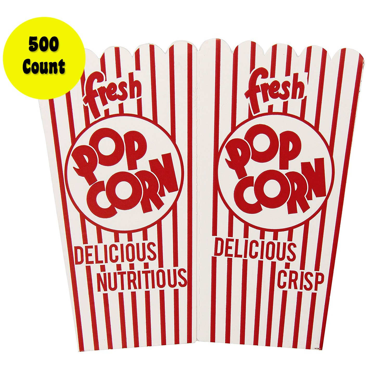 Concession Express 500 Count 44E Open Top Popcorn Scoop Boxes (500 Pack) by Concession Express