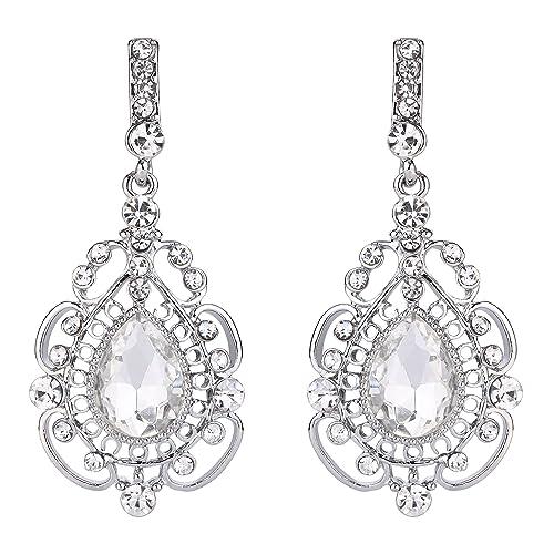 619da4b30c BriLove Women's Vintage Inspired Crystal Floral Hollow Teardrop Chandelier  Pierced Dangle Earrings Clear Silver-Tone