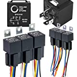 ONLINE LED STORE 6 Pack Bosch Style 5-Pin 12V Relay Kit [Interlocking Harness Socket Holder] [14 AWG Hot Wires] [SPDT] [30/40