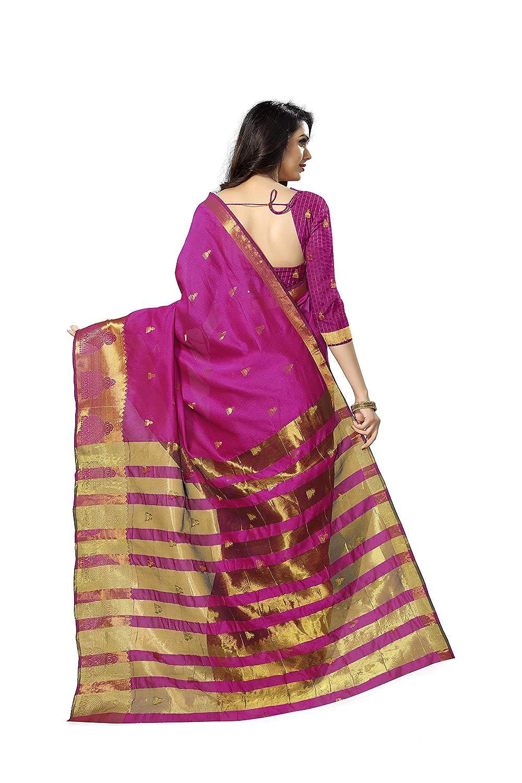 Pink Kanchipuram Cotton Silk Saree With Blouse Piece