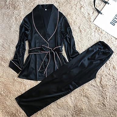 Satin Women Pajamas Autumn Ladies Pijama Long Sleeve Silk Pajamas Sets Pyjama Nightwear with Long Pants
