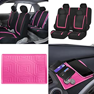 BLACK FRIDAY SALE: FH GROUP FB032114 Unique Flat Cloth Full Set Car Seat Covers w. Silicone Anti-slip Dash Mat, Pink / Black Color- Fit Most Car, Truck, Suv, or Van