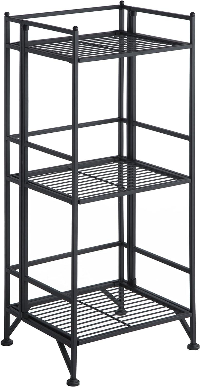 Walker Edison Convenience Concepts Xtra Storage 3 Tier Folding Metal Shelf, Black