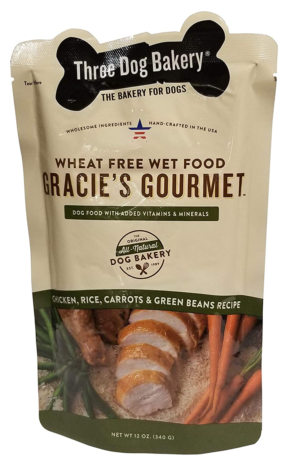 Three Dog Bakery Gracie s Gourmet Entr e for Dogs, Rice Recipe, 14 Pack