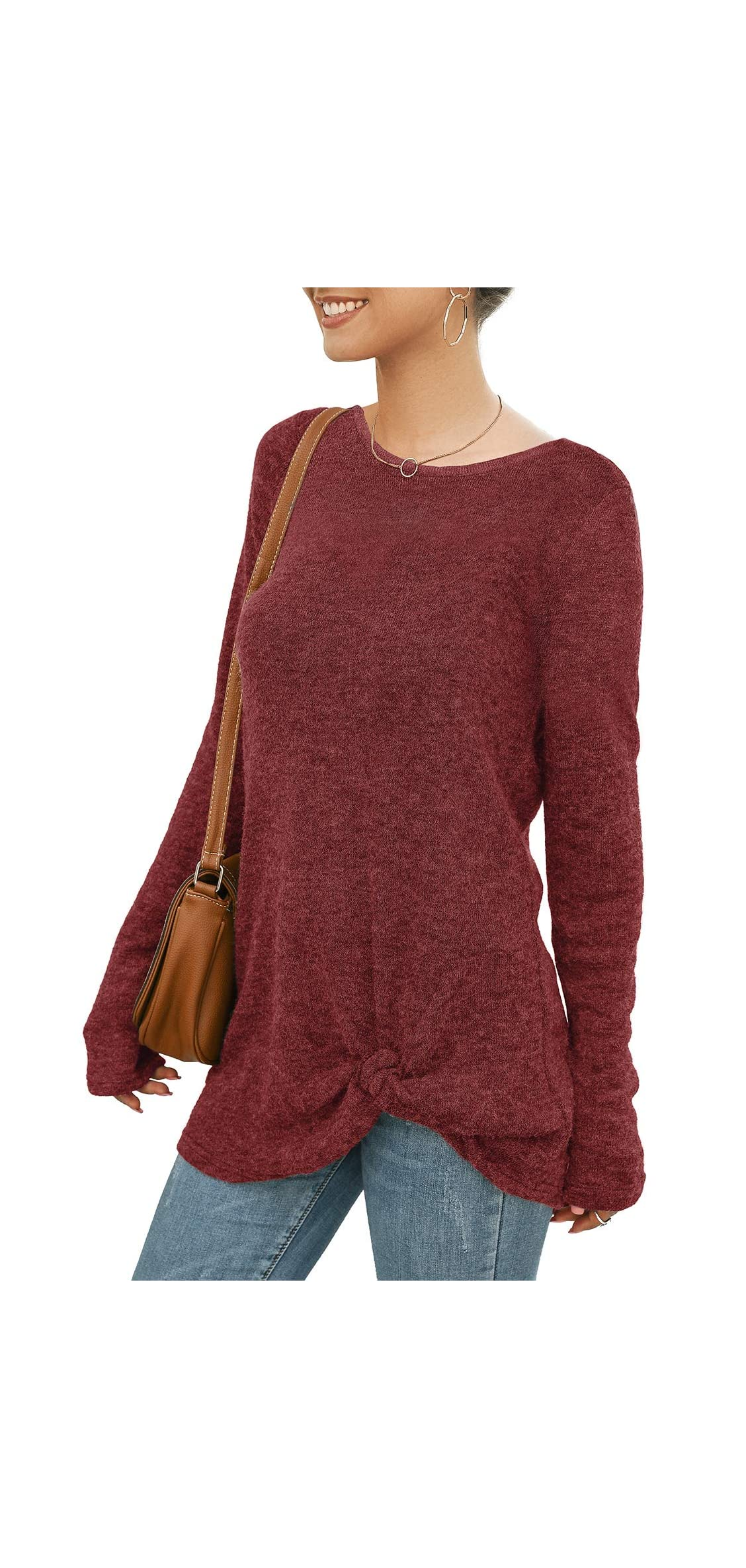 Women's Loose Solid Color Blouses Long Sleeve Pullover