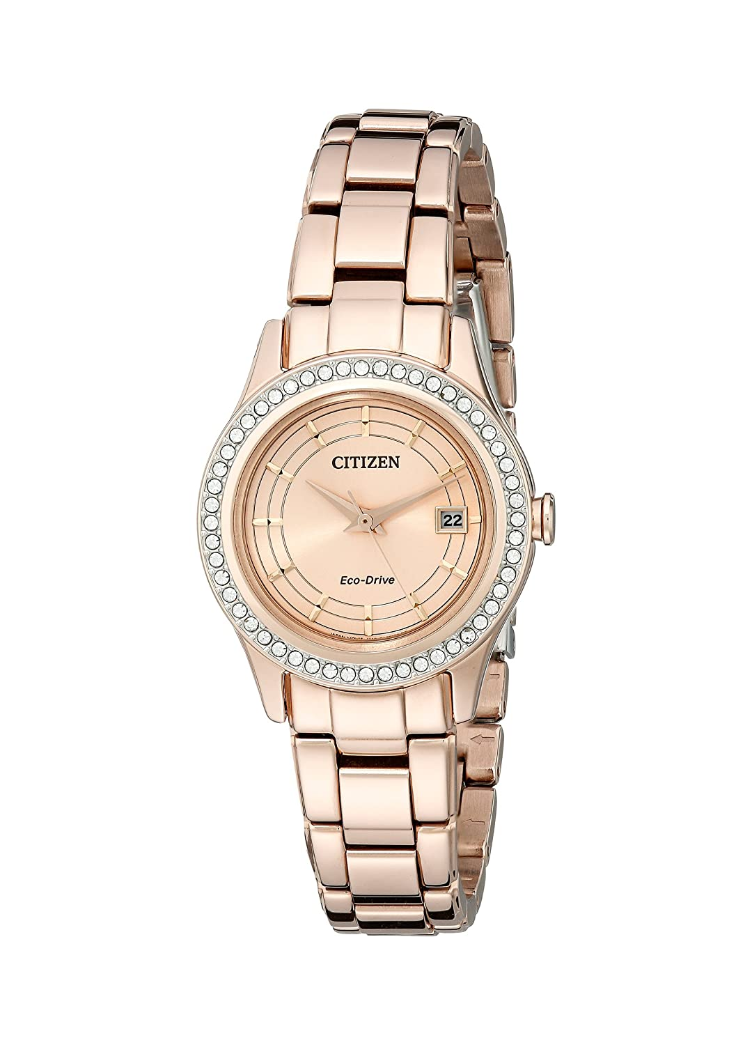 Citizen Women s Eco-Drive Silhouette Crystal Rose Gold-Tone Watch with Date, FE1123-51Q