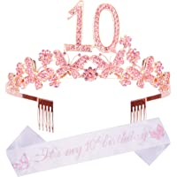 10th Birthday Decorations Party Supplies, 10th Birthday Gifts, Silver 10th Birthday Tiara and Sash, 10th Silver Satin…