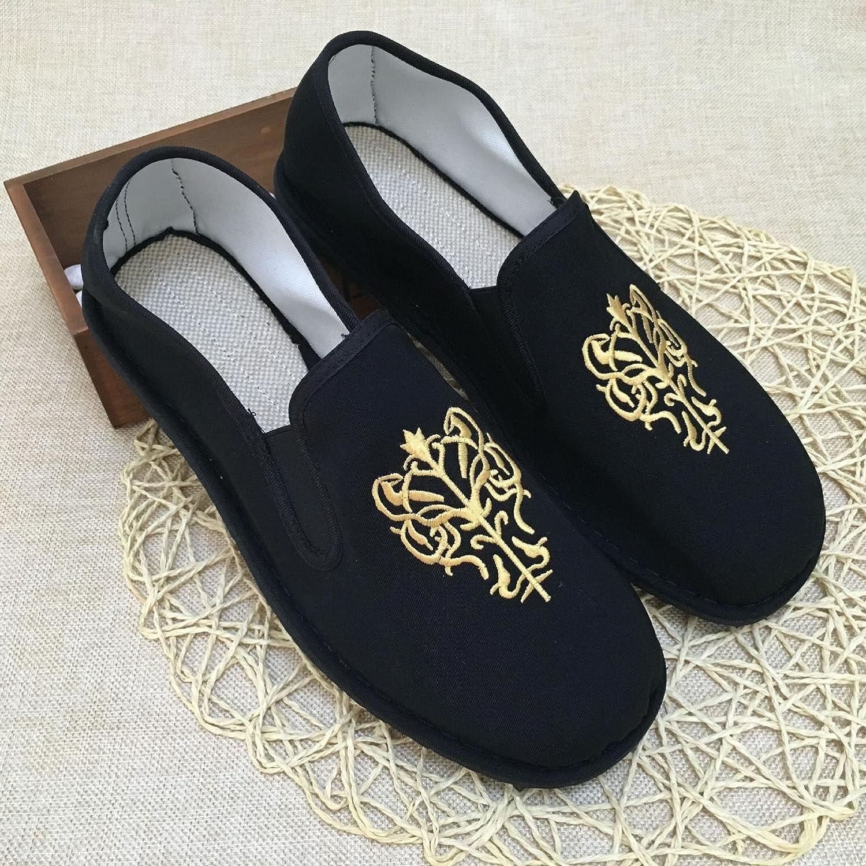LvYuan Zapatos tradicionales chinos unisex del paño / retro ocasional respiran los zapatos bordados / los zapatos de Kung Fu / los artes marciales / deslizan-en los zapatos QianCengDi