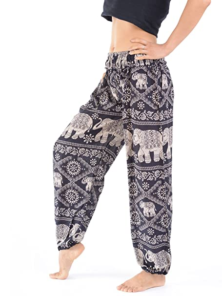e0161141f2a Ladies Baggy Trousers - Elephant - Harem Pants for Women - Festival Yoga  Relaxation (Black)  Amazon.co.uk  Clothing