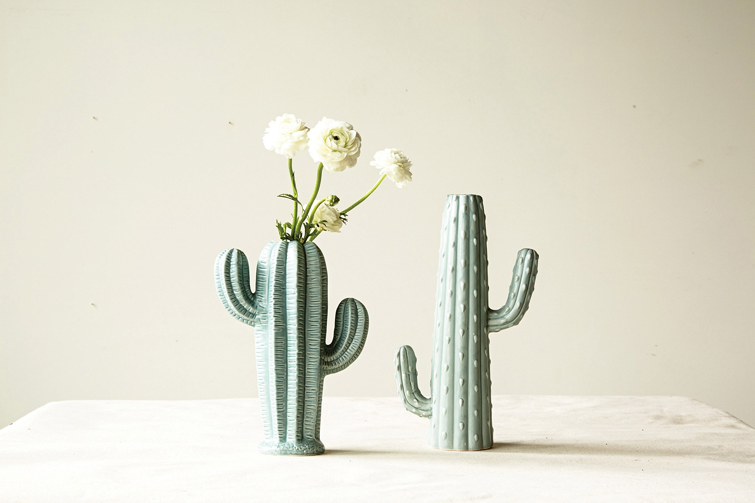 Creative Co-op Medium Stoneware Cactus Shaped Vase with Matte Sage Finish - Made with stoneware Vase is water tight Weighs 1.5 pounds - vases, kitchen-dining-room-decor, kitchen-dining-room - 818cfrWcitL -