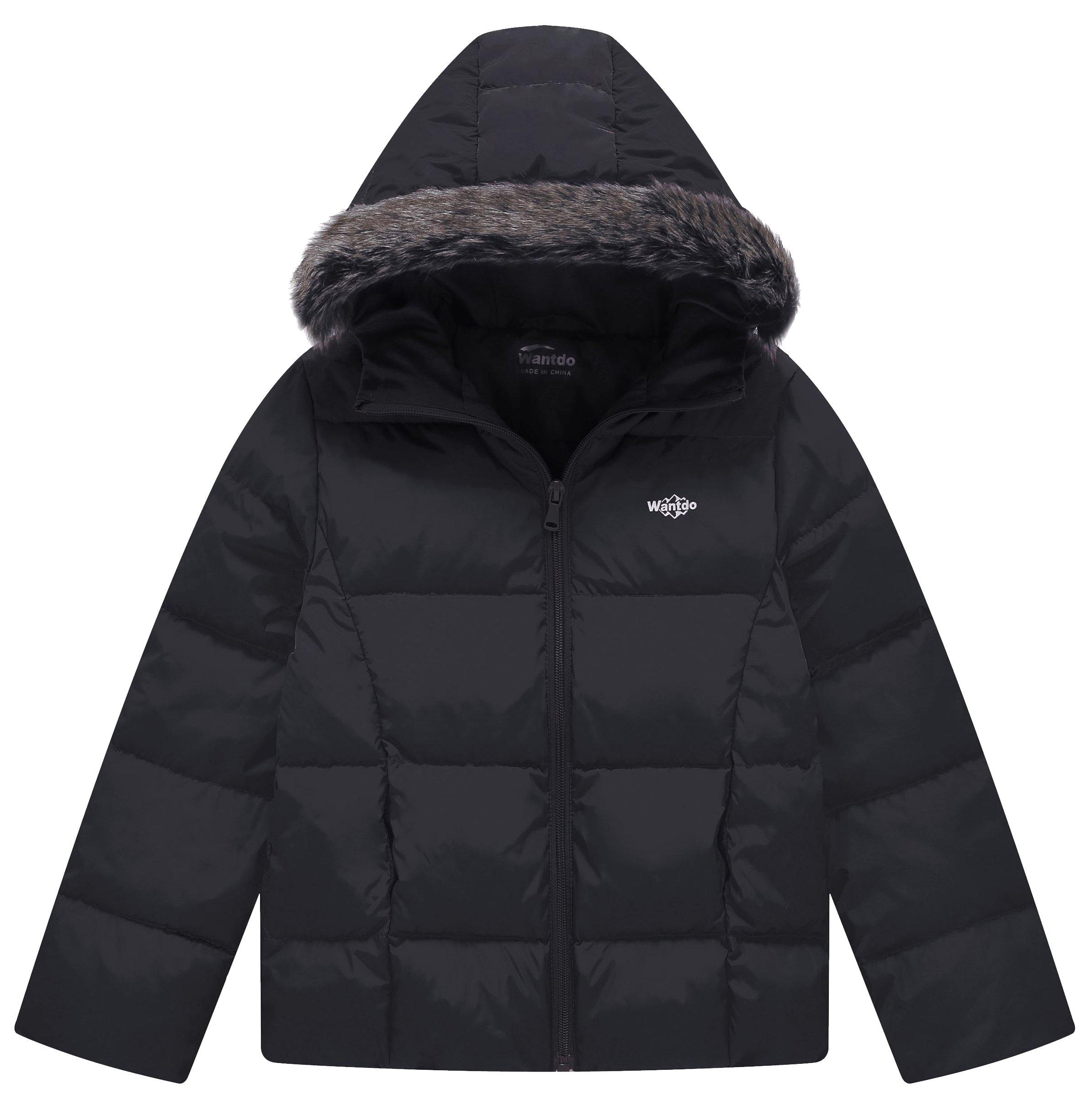 Wantdo Boy's Lightweight Puffer Down Jacket with Hood Packable Outdoor Anorak(Black, 8)