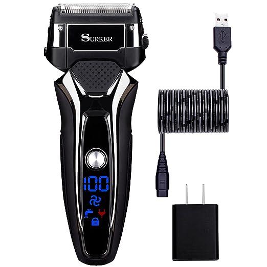 18 opinioni per Surker 9008 Rasoio Elettrico per Uomo AquaTec Wet&Dry a nido d'ape, carica USB e