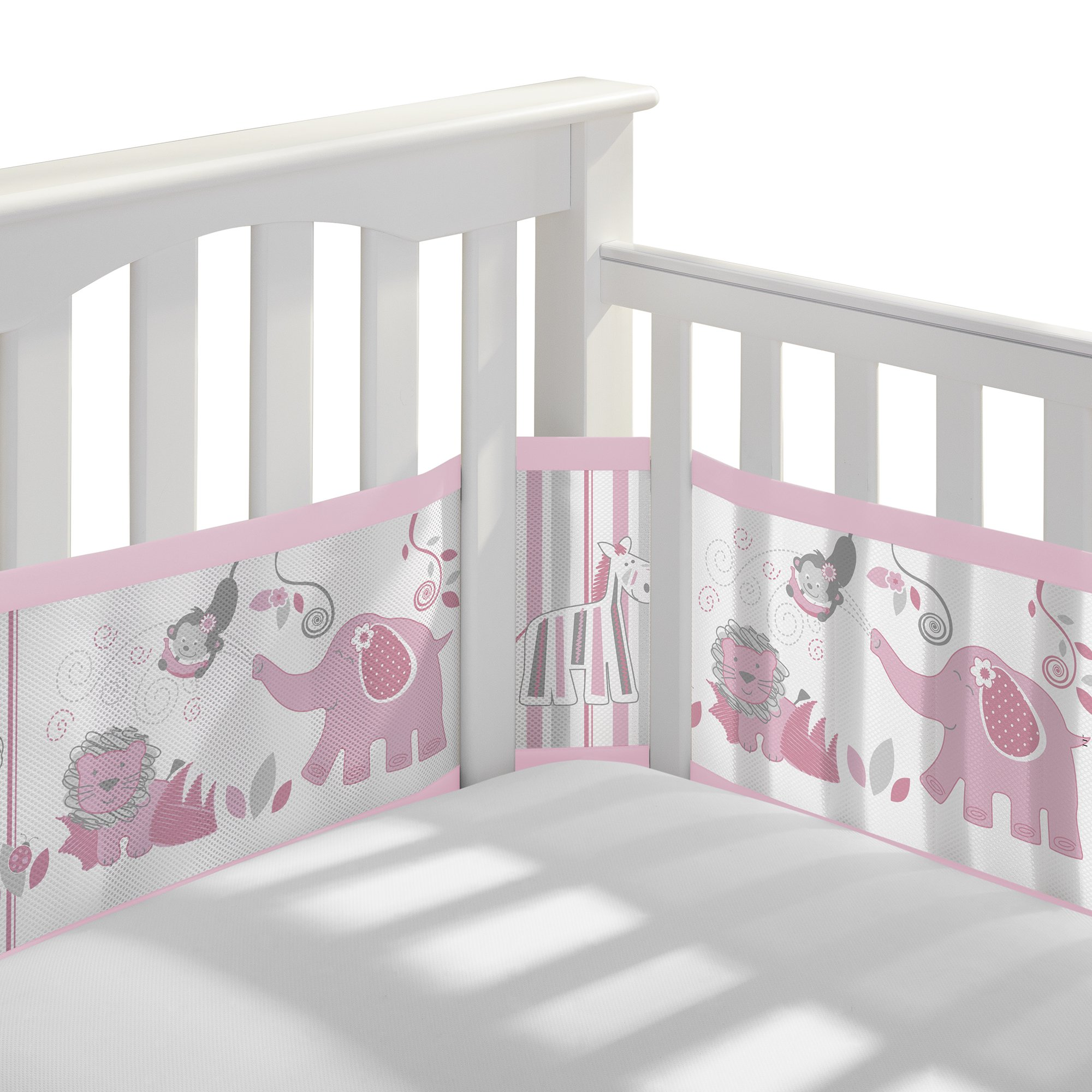 BreathableBaby Breathable Mesh Crib Liner- Safari Fun Girl, Multi, 1 Pack