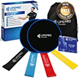 LifePro Core Sliders and Resistance Loop Bands - Fitness Exercise Loops (4) Dual Sided Gliding Discs (2) - Great For Home Low Impact Workout, 80 Day Obsession Exercises -Manual, EBook & Online Videos