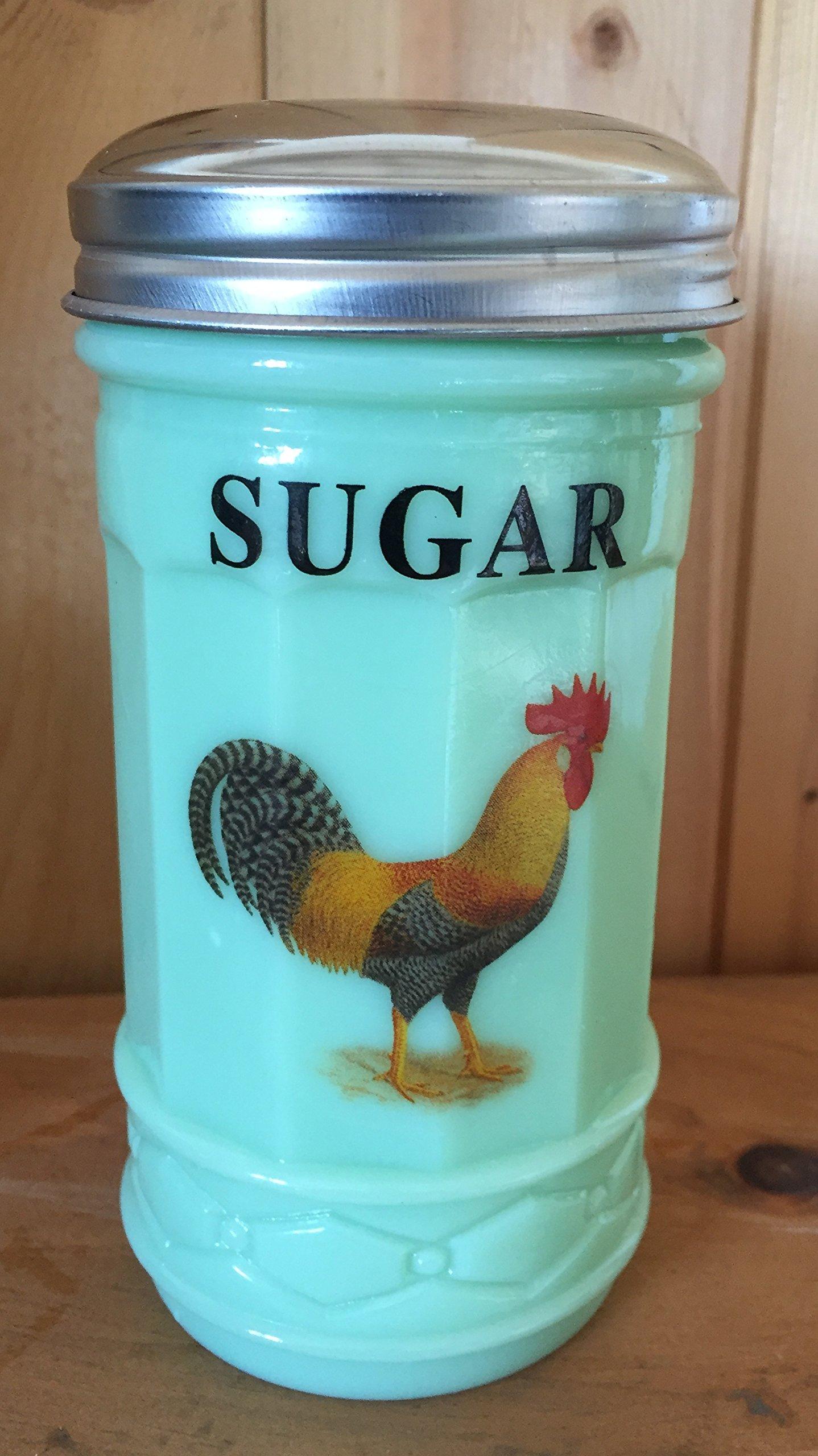 Jade Jadeite Green Glass Restaurant Style Sugar Shaker Dispenser - Leghorn Chicken Rooster