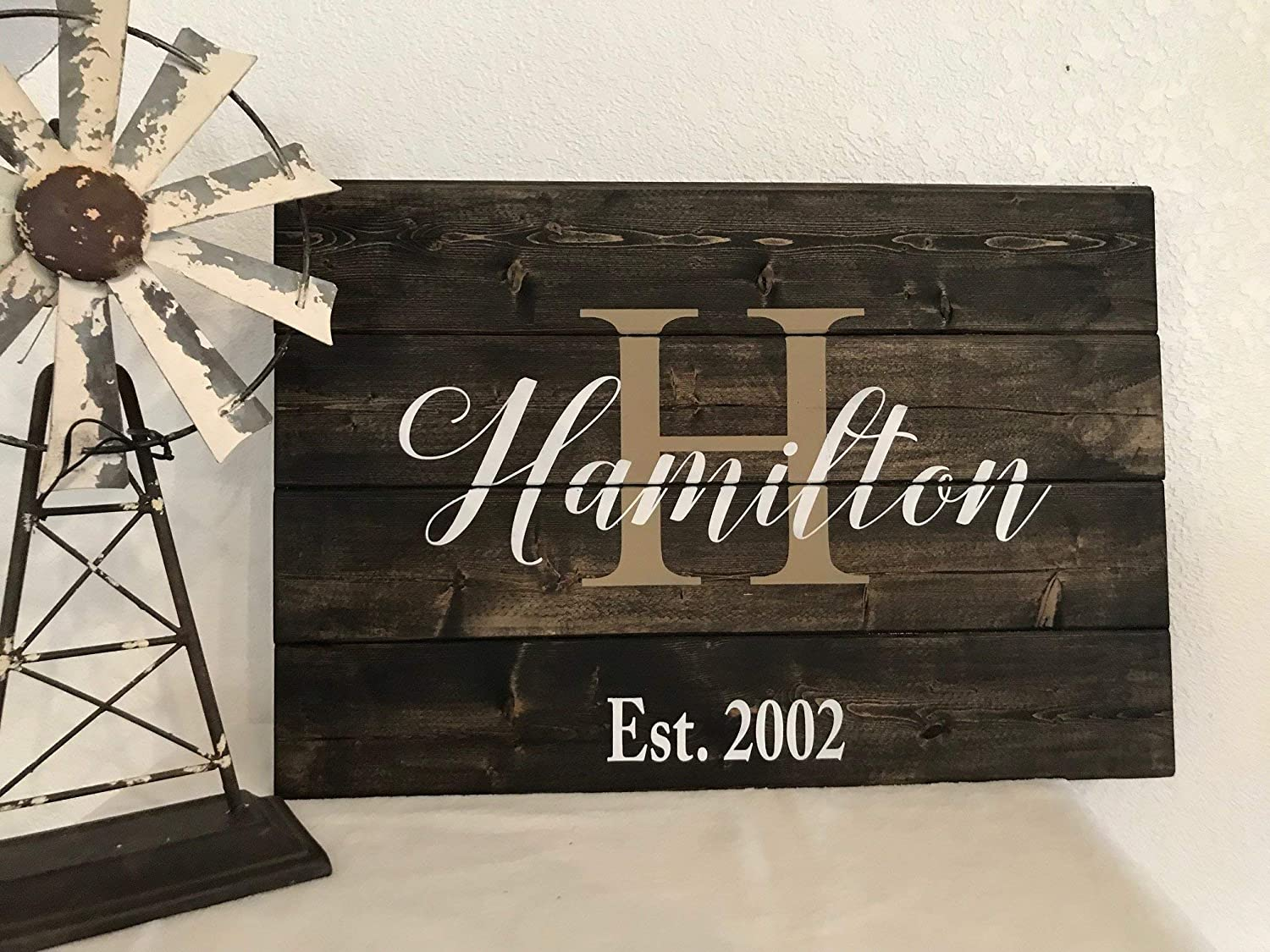 Family Established Unframed Sign Wooden Last Name Sign Monogram Sign Hand Printed Wood Pallet Style Sign Personalized Housewarming Gift