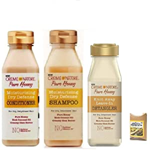 Creme of Narture Pure Honey Kit: Shampoo, Conditioner & Detangler with Shea Butter