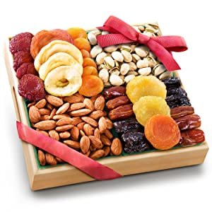 Pacific Coast Classic Dried Fruit Tray Gift with Almonds and Pistachios for Holiday Birthday Healthy Snack Business Gourmet Food Platter 26 ounces