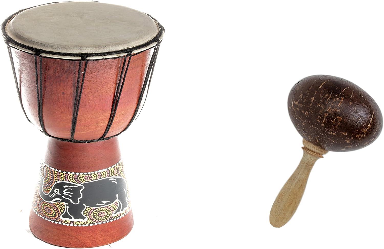 40cm Medium Djembe Bongo kids painted tabla drum Elephant Paint coconut shaker rattle R2