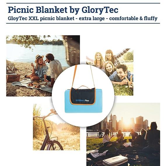 Glorytec Manta de Picnic 200 x 200 cm Manta Picnic Impermeable para la Playa, Camping, Jardin - Colchon para Camping XXL con Parte Inferior ...