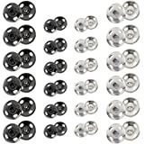 Kenkio 120 Sets Sew-on Snap Buttons Metal Snaps Fasteners Press Studs Buttons for Sewing, 8 mm and 10 mm,Black and Silver