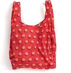 BAGGU Standard Reusable Shopping Bag, Eco-friendly Ripstop Nylon Foldable Grocery Tote, Red Disco Dot