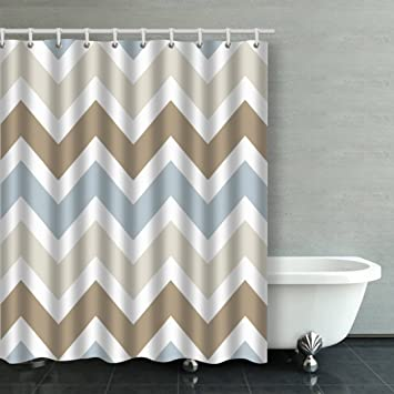 blue and tan shower curtain. Accrocn Waterproof Shower Curtain Curtains Fabric Smoky Blue Gray  Tan Brown Chevron Pattern Extra Long Amazon com