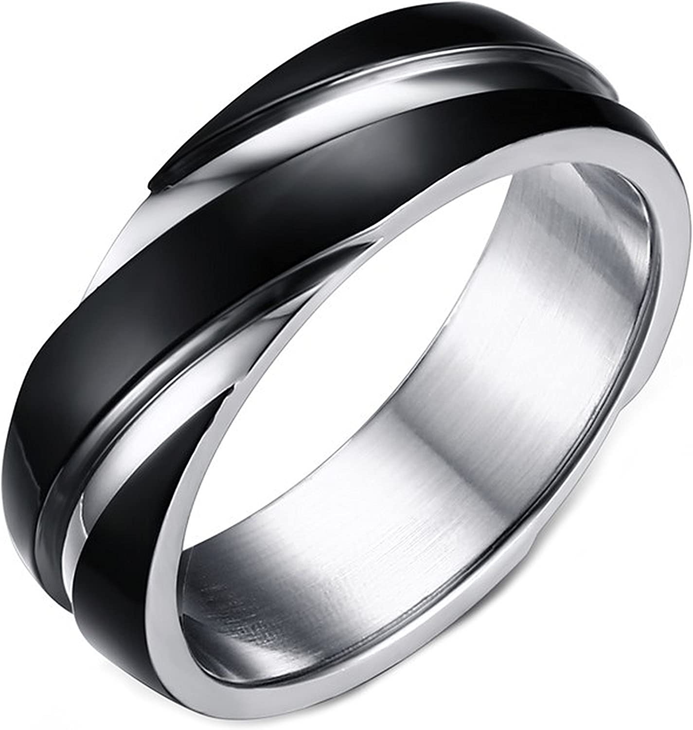 LineAve Men's Stainless Steel Black Stripe Ring 6mm Wedding Band, Comfort Fit, Unisex