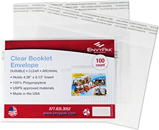 """product image for EnvyPak Clear Booklet, Photo & Postcard Envelope - Permanent Peel and Seal Closure Holds 4.38″ x 6.13"""" Insert - Box of 100"""