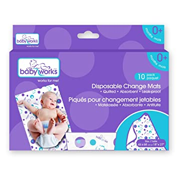 Charmant Baby Works Disposable Change Mats 10 Count Value Pack, White