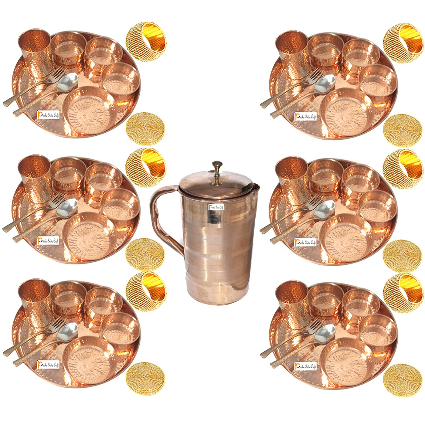 Prisha India Craft Set of 6 Indian Dinnerware Pure Copper Thali Set Traditional Dinner Set of Thali Plate Dia 12'', Bowl, Spoon, Fork, Glass and JUG - Christmas Gift
