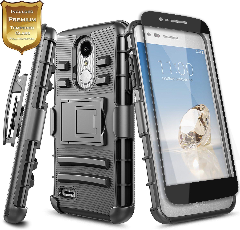 NageBee LG Rebel 4 LTE Case, Aristo 3+ Plus/Aristo 3/Aristo 2/Aristo 2 Plus/Tribute Dynasty/Empire/Zone 4/Phoenix 4/Fortune 2/Risio 3/Rebel 3/K8+/K8S w/Screen Protector, Belt Clip Holster Case -Black
