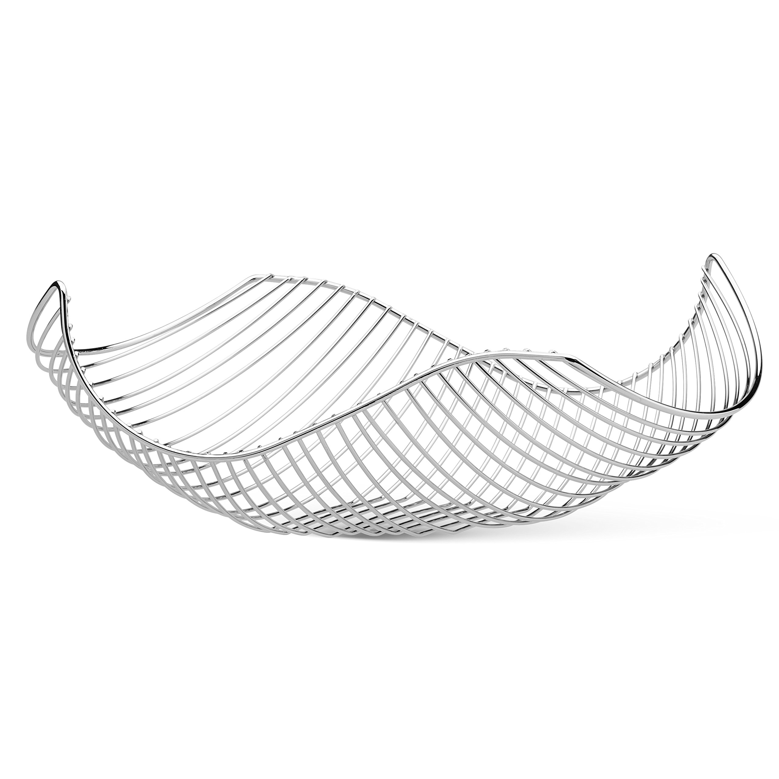 Vistella Fruit Bowl Basket in Chrome Silver - Stainless Steel Wire Design with a Modern Style - Decorative Countertop Centerpiece or Serving Storage Basket