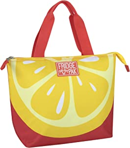 Tropical Lunch Tote Bag Fruit Lunch Bag for Women Insulated Cooler Bags for Beach, Food, Groceries (Lemon Tote)