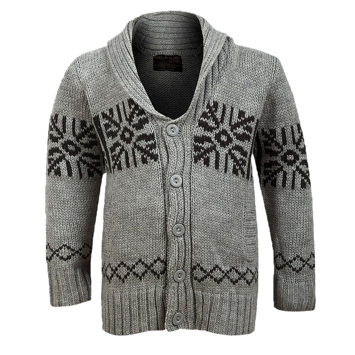 New Kids Boys Christmas Isle pattern Warm Soul & Glory Cardigan Top Age 3-8 Years Light Grey)