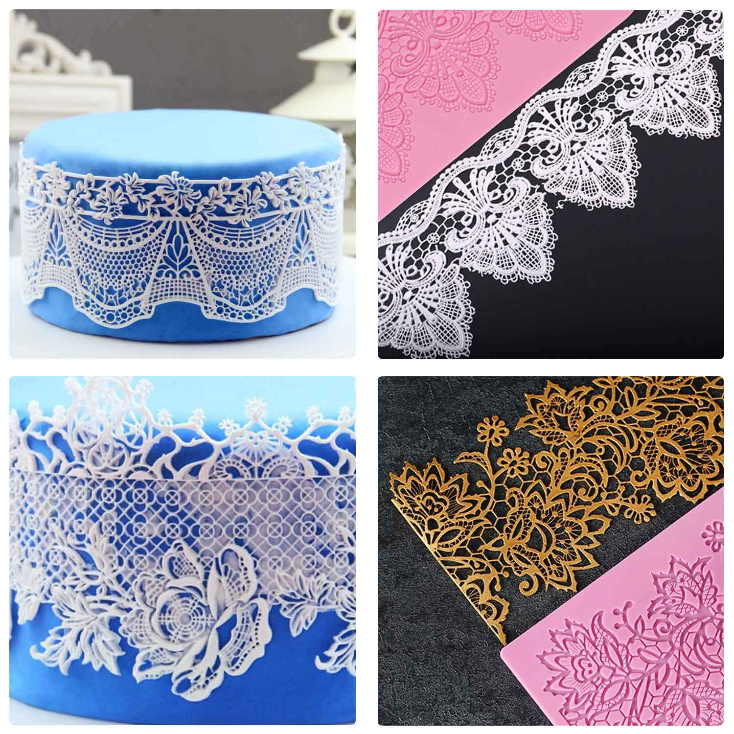 Silicone Lace Molds, Beasea 5pcs Fondant Cake Decorating Tools Lace Decoration Mat Flower Pattern Molds Sugar Craft Tools - Pink by Beasea (Image #7)
