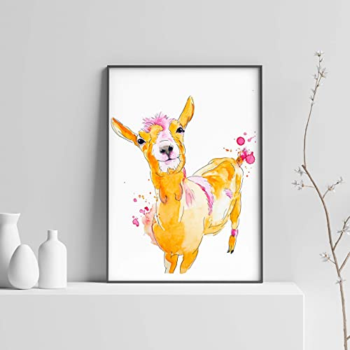 Amazon Com Baby Goat Watercolor Wall Art By Ces Ptits Pigments Farm Animal Home Decor Pink And Orange Nursery Wall Art Animal Lover Painting Watercolor Print Size 8 X 10 11 X 14