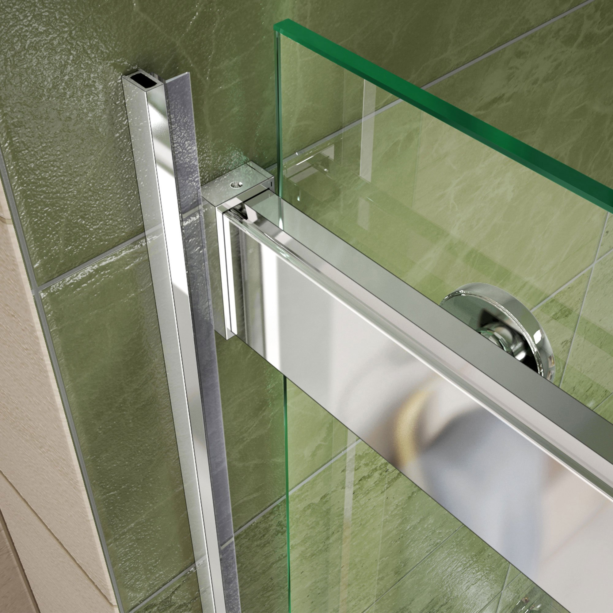 DreamLine SHDR-6360760-04  Essence 56 to 60 in. Frameless Bypass Shower Door in Brushed Nickel Finish by DreamLine (Image #4)