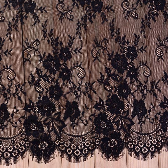 30 meter 10pcs 6cm 2.36 wide black eyelash mesh embroidery fabric tapes lace trim ribbon G3R186P191125C