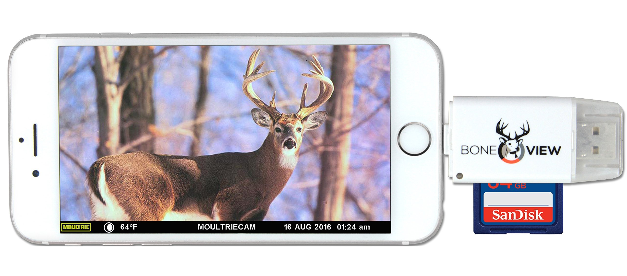 BoneView SD MicroSD Card Reader for Apple iOS, Trail Cam Viewer Plays Deer Hunting Game Camera Scouting Video & Photo Memory on iPad iPhone 5, 6, 7, 8, X - Plus Free Lightning Extender & App by BoneView