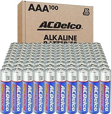 ACDelco 100-Count AAA Batteries, Maximum Power Super Alkaline Battery, 10-Year Shelf Life, Recloseable Packaging