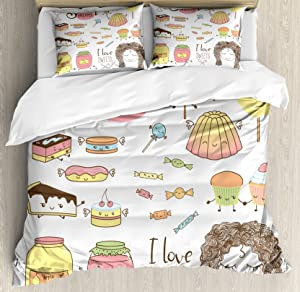 Ambesonne Saying Duvet Cover Set, Teen Girl Dreaming About Sweets Food Doodle Characters Kawaii Cartoon Faces, Decorative 3 Piece Bedding Set with 2 Pillow Shams, Queen Size, Pink Ivory