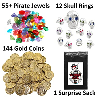 200+ Piece Pirate Treasure Loot Collection featuring Gold Coins, Pirate Gems, Skull Rings, Super Secret Surprise Sack (Pirate Party Favors and Supplies): Toys & Games