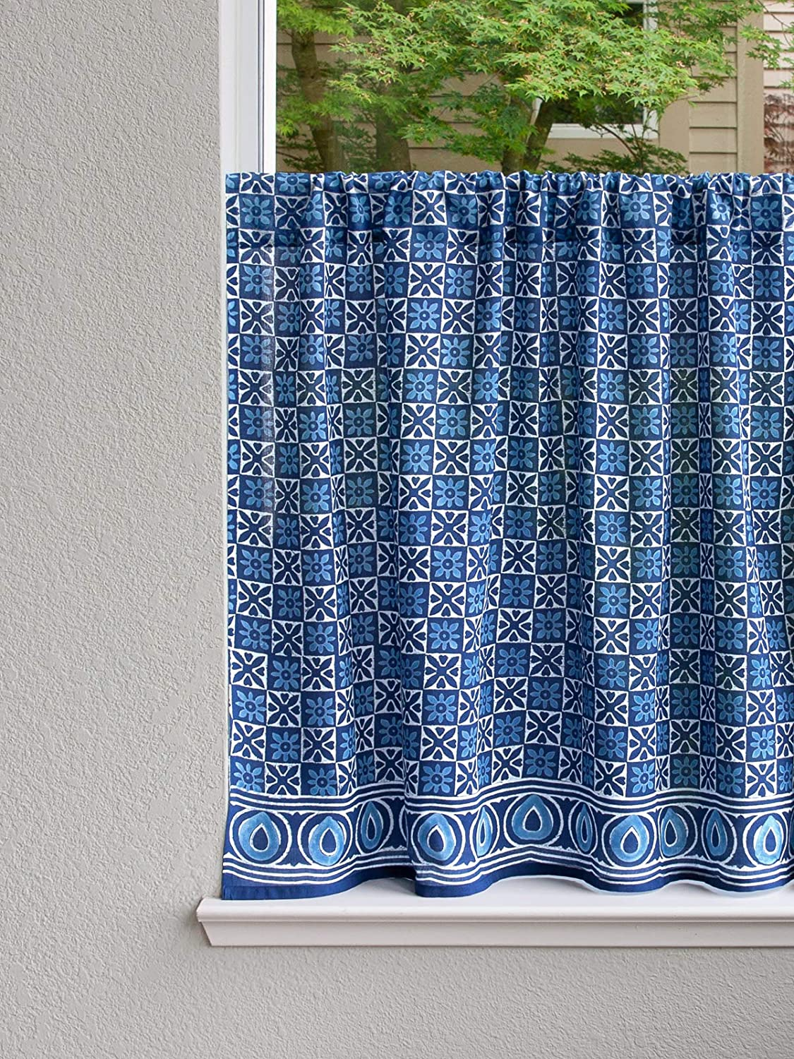 "Saffron Marigold – Starry Nights – Navy Blue and White Batik Print Hand Printed – Sheer Cotton Voile Kitchen Curtain Panel – Rod Pocket – (46"" x 36"")"